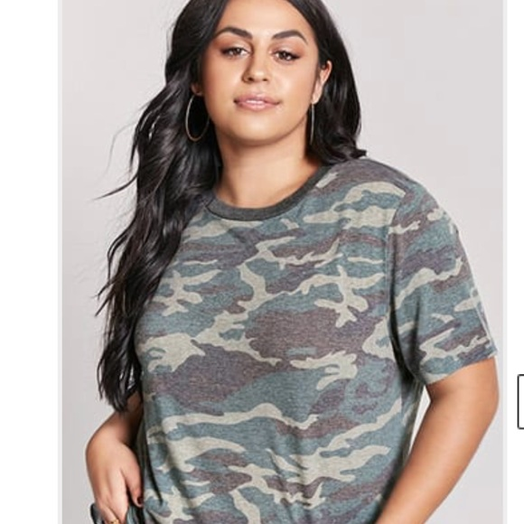 Forever 21 Tops | Plus Size Army Fatigue T Shirt | Poshmark